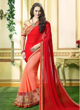 Arresting Peach and Red Half N Half Saree For Ceremonial