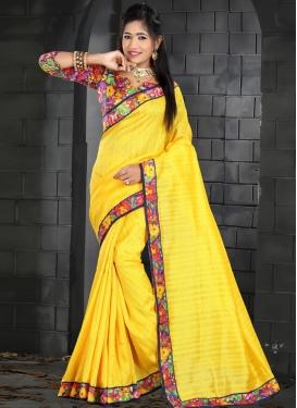Bhagalpuri Silk Blue and Yellow Trendy Classic Saree