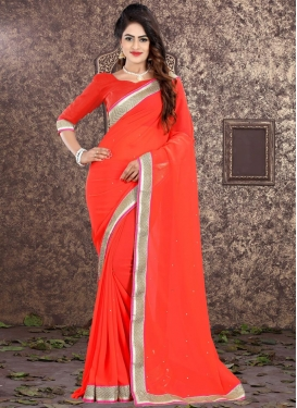 Faux Georgette Lace Work Classic Saree