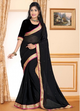 Lace Work Faux Georgette Traditional Saree For Casual