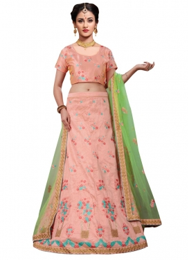 Embroidered Work Silk A Line Lehenga Choli