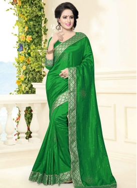 Lace Work  Banarasi Silk Trendy Classic Saree