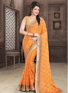 Embroidered Work Faux Chiffon Classic Saree