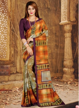 Digital Print Work Trendy Saree For Casual
