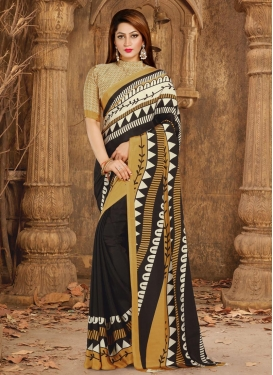 Crepe Silk Black and Cream Contemporary Style Saree For Casual
