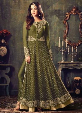 Embroidered Work Net Trendy Pant Style Suit