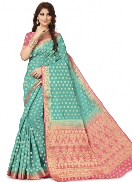 Aqua Blue and Rose Pink Banarasi Silk Trendy Classic Saree