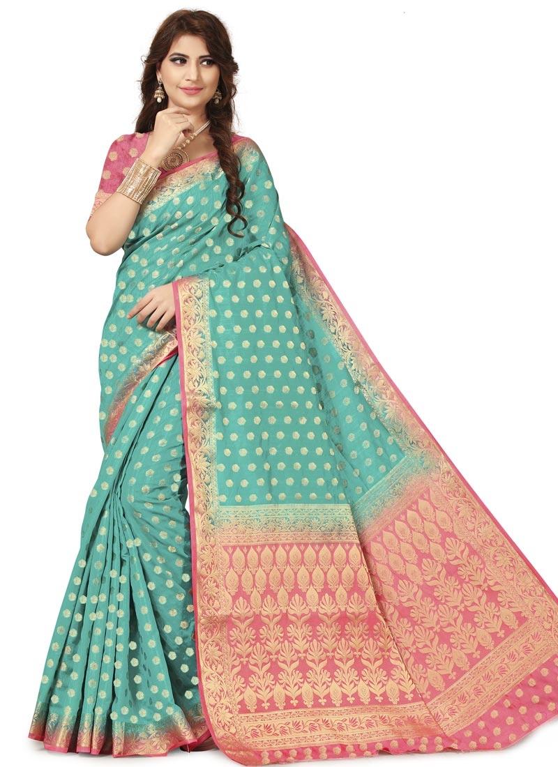 Aqua Blue and Rose Pink Banarasi Silk Trendy Classic Saree