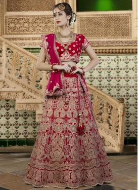 Red and Rose Pink Embroidered Work A Line Lehenga Choli