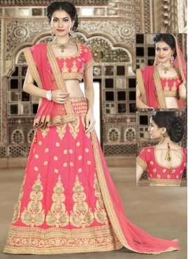 Booti Work Silk Trendy Lehenga