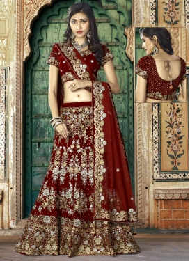 Velvet A - Line Lehenga For Bridal