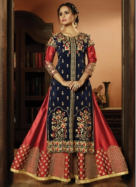 Satin Silk Embroidered Work Designer Salwar Kameez