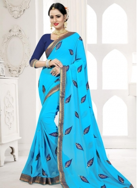 Lace Work Faux Georgette Trendy Saree