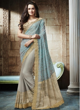 Embroidered Work Aqua Blue and Grey Half N Half Trendy Saree