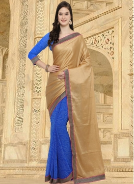 Crepe Silk Beige and Blue Half N Half Saree For Casual