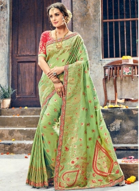 Hot Pink and Mint Green Embroidered Work Contemporary Saree