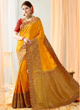 Glitzy Mustard and Red Classic Saree For Ceremonial