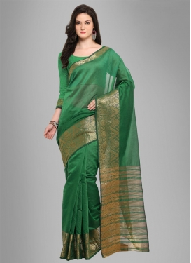 Thread Work Chanderi Cotton Trendy Saree