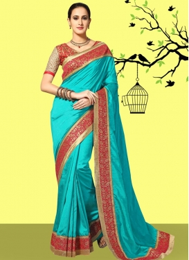 Aristocratic Aqua Blue and Red Trendy Classic Saree For Ceremonial