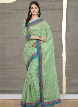 Mint Green and Off White Lace Work Contemporary Saree