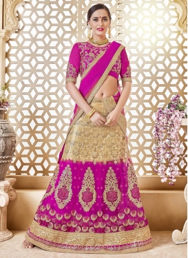 Beige and Magenta A - Line Lehenga For Festival