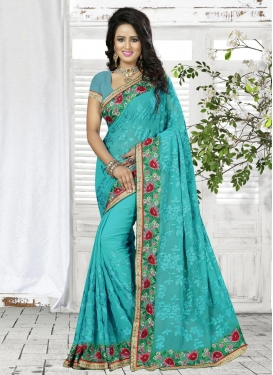 Embroidered Work Faux Georgette Classic Saree For Ceremonial