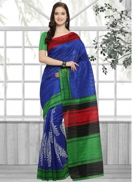 Bhagalpuri Silk Blue and Green Trendy Saree For Casual
