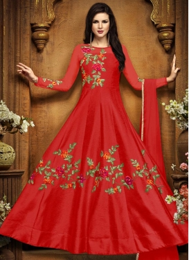 Silk Embroidered Work Anarkali Salwar Suit