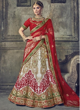 Red and White Net Trendy Lehenga