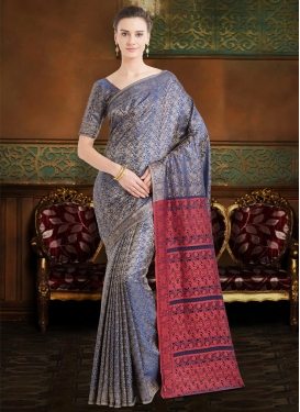 Navy Blue and Red Thread Work Trendy Classic Saree