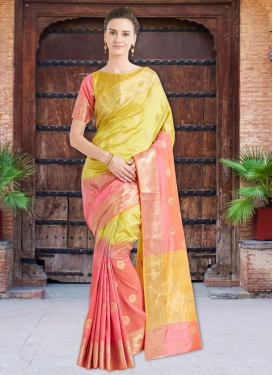 Gold and Salmon Trendy Classic Saree