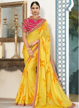 Embroidered Work Contemporary Saree For Ceremonial