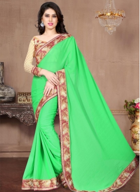Lace Work Faux Chiffon Trendy Classic Saree For Ceremonial