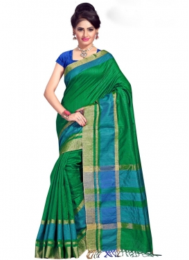 Cotton Silk Print Work Blue and Green Contemporary Style Saree