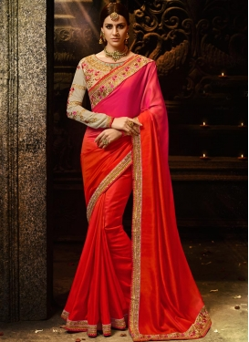 Satin Silk Embroidered Work Contemporary Style Saree