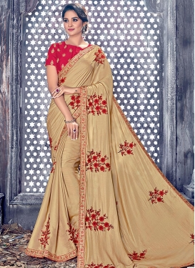 Silk Beige and Red Embroidered Work Contemporary Style Saree