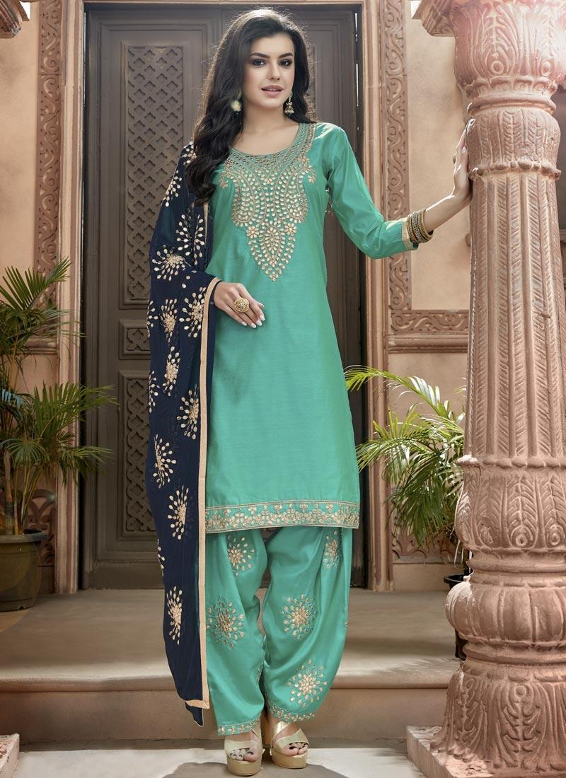 Shop Chanderi Cotton Punjabi Suit Online In Florida