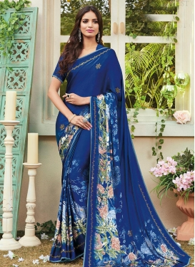 Crepe Silk Digital Print Work Classic Saree