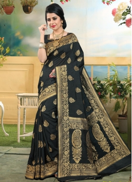 Thread Work Art Silk Trendy Saree For Ceremonial