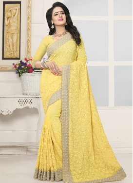 Beads Work Faux Georgette Trendy Saree