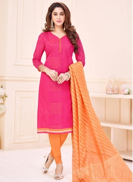 Coral and Hot Pink Lace Work Churidar Suit