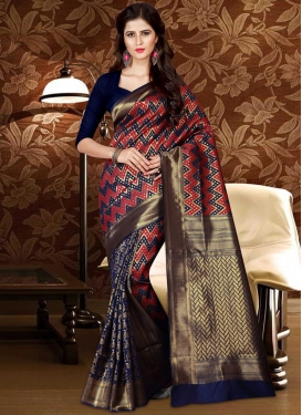 Thread Work Navy Blue and Red Trendy Classic Saree