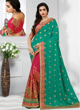 Rose Pink and Sea Green Embroidered Work Half N Half Saree