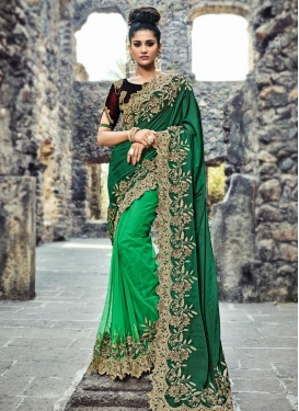 Bottle Green and Green Half N Half Saree For Bridal