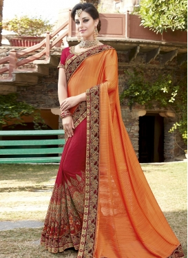 Crimson and Orange Silk Designer Half N Half Saree
