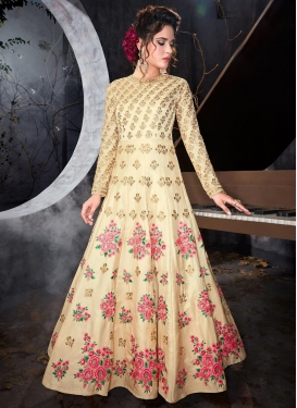Satin Silk Embroidered Work Floor Length Anarkali Salwar Suit