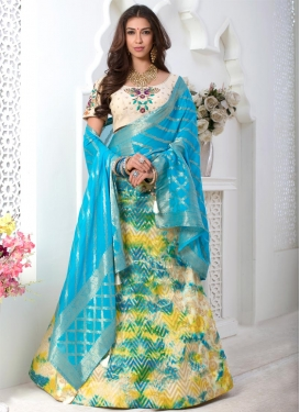 Cream and Light Blue Silk Trendy Lehenga