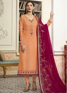Gauhar Khan Embroidered Work Pakistani Straight Salwar Suit