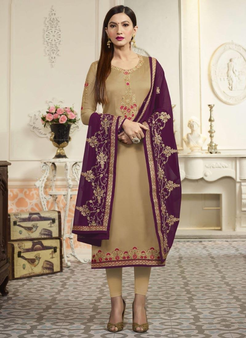 Gauhar Khan Embroidered Work Pakistani Straight Suit