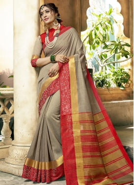 Beige and Red Khadi Silk Trendy Saree For Casual